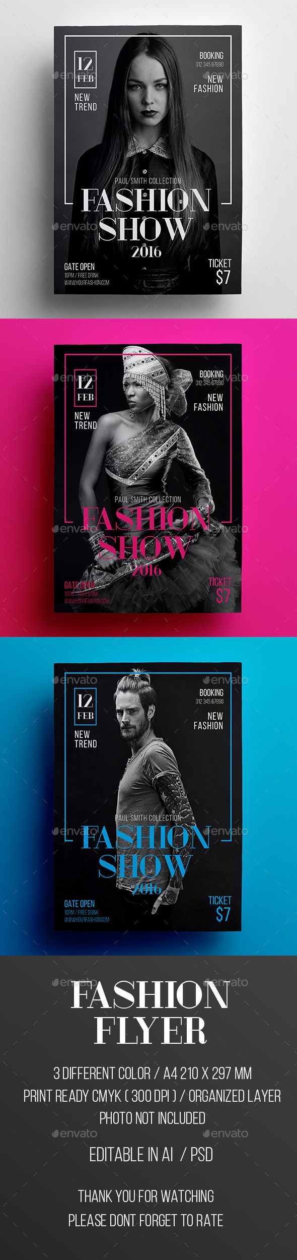 Fashion Show Flyer Template PSD, Vector AI #design Download: http://graphicriver.net/item/fashion-show-flyer/14221823?ref=ksioks