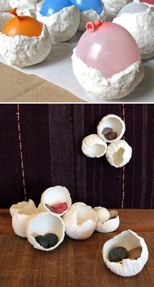Pin for Later: 23 Amazing Ways to Use Balloons Paper-Clay Barnacles Pat paper clay over balloons to make these paper-clay barnacles.  Source: Design Sponge