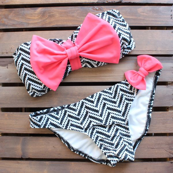chevron bikini bow neon pink black white tribal print boho bohemian southern hippie country summer beach bunny