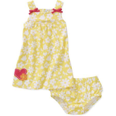 Child of Mine Carters Newborn Girls' 2-Piece Flower Print Dress and Bloomer Set, Yellow