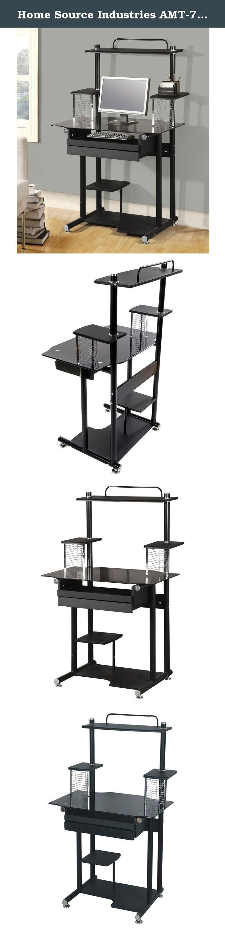 Home Source Industries AMT-779 Computer Cart on Casters Black. This computer cart in black combines modern style with space-saving functionality. This desk is a great fit in any room in your home or office. with plenty of options to help you keep your computer accessories and various documents organized, it is sure to meet your needs while taking up a minimum amount of space. This-piece is easy to assemble and appreciate.