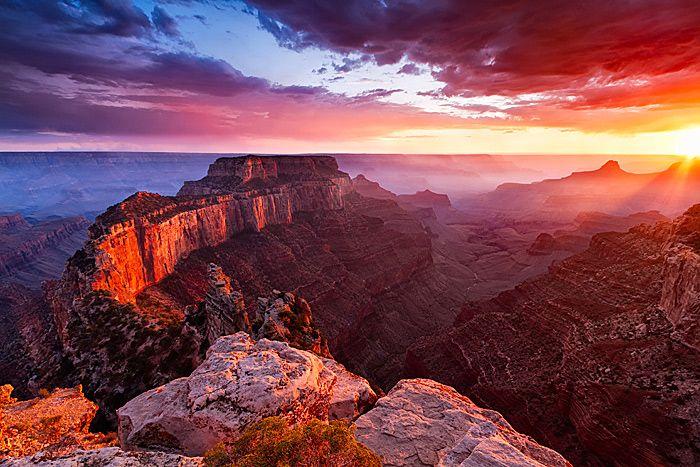 Absolutely Epic Nature Photography by Erik Harrison - http://tinyurl.com/7eg5mth: Sun Ray, Most Popular, Grandcanyon, Beautiful Sunset, Lights Show, National Parks, Grand Canyon Arizona, Nature Photography, Deep Blue