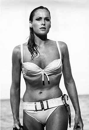 "Often cited as the most famous bikini of all time. Ursula Andress (the 1st Bond girl) as Honey Rider in ""Dr. No"", 1962"
