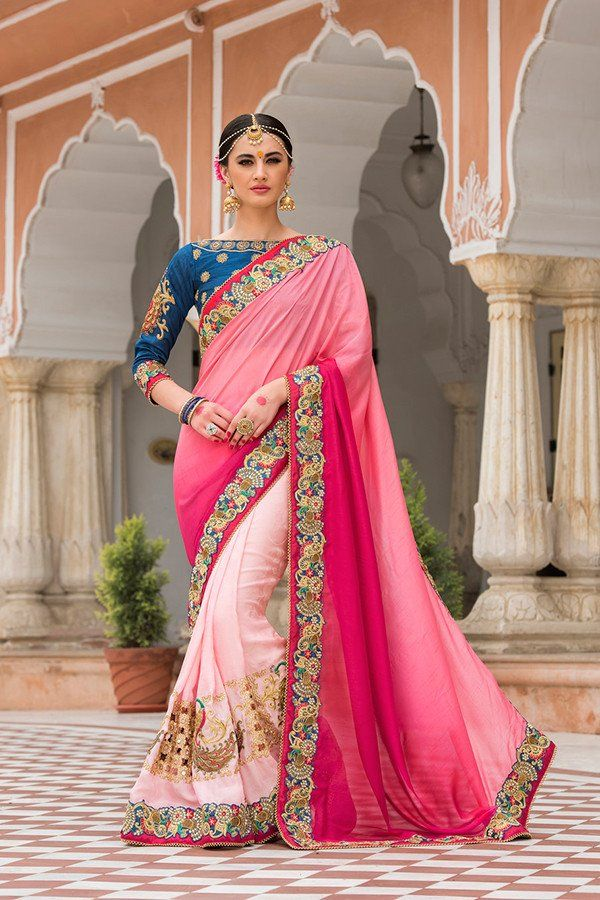 Shaded Pink Color Silk Fabric Saree