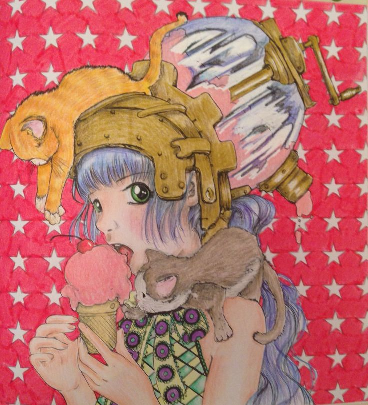 From Pop Manga by Camilla D'Errico in Prismacolor Premier pencils and Stabilo Power felt tip pen.