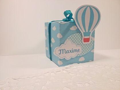 Boîte à dragées montgolfière entièrement personnalisable aux couleurs de votr choix