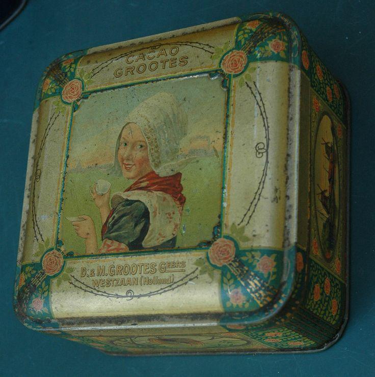 Ancienne boite tole lithographieé cacao GROOTES DM WESTZAAN Hollande