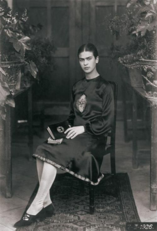 Frida Kahlo (1926). Photographed by her father, Guillermo Kahlo (1872-1941) at about age 19.    Frida Kahlo (1907-1954), was a Mexican painter noted for her intense, brilliantly coloured self-portraits painted in a primitivistic style. Though she denied the connection, she is often identified as a Surrealist. She was married to muralist Diego Rivera.