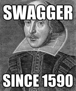 """The popular word to describe something in a bragging manner has its first written use in the 1596 play A Midsummer Night's Dream! The quote of the original usage is as follows from character, Puck: """"What hempen homespuns have we swaggering here?""""Shakespeare Swag, Shakespearean Time, Book Worth, Tru Dat, Quote, Shakespeare Facts, Words Swagger"""