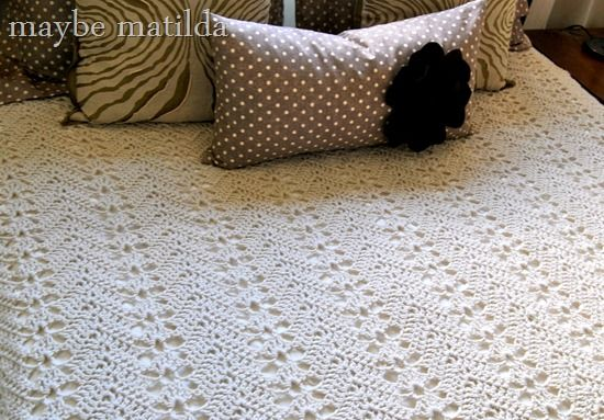 Free Crochet Pattern Queen Size Blanket : Grandmas Lacy Ripple bedspread crochet pattern Crochet ...