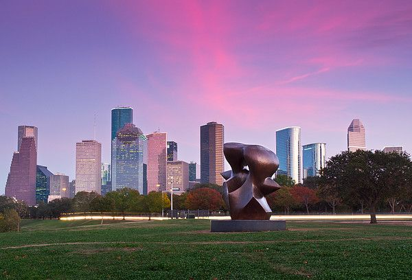 Houston Skyline in Sunset, Texas_ USA