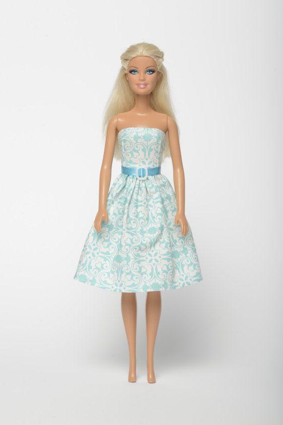 "Handmade Barbie doll clothes, Barbie dresses, Barbie outfit - ""Lacy clouds"" floral Barbie dress (265)"