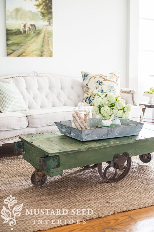 Rebuilt anitique industrial cart painted in Miss Mustard Seed's Milk Paint Boxwood