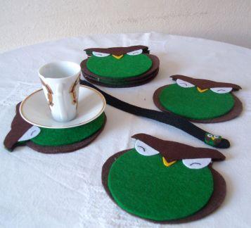 Keçe baykuş bardak altlığı kahve çay keyfi