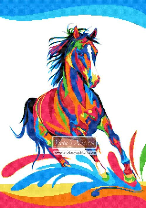 Rainbow abstract horse cross stitch