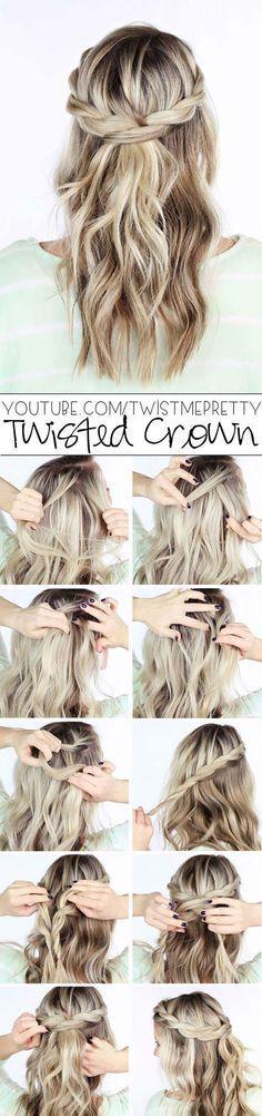 Coole und einfache DIY-Frisuren - Twisted Crown Braid - Schnelle und einfache Ideen für ... #Braid #Cool #Krone #Einfache #Kleider