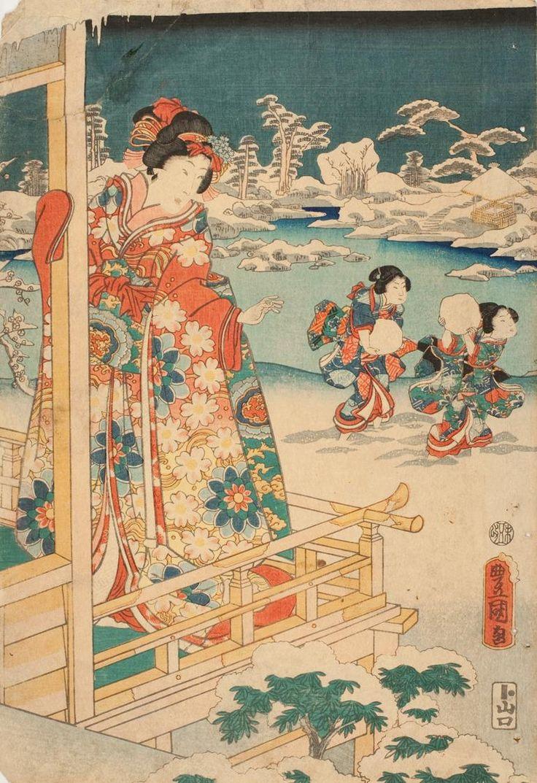 """centuriespast: """"Женщина наблюдает Дети снежки Date1786-1865 Исполнитель: Утагавы Кунисада I, японский, 1786-1864 музей Крайслер"""""""