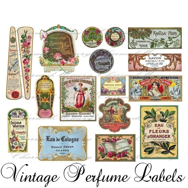 Vintage French Perfume Label Collage Sheet(4) - Buy 3 sheets and get the 4th FREE - Printable Download., via Etsy.