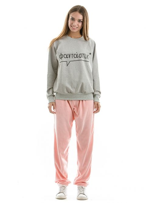 """Grey sweatshirt made in Greece, with the word """"FANTASTIC"""" written in greek characters <3"""