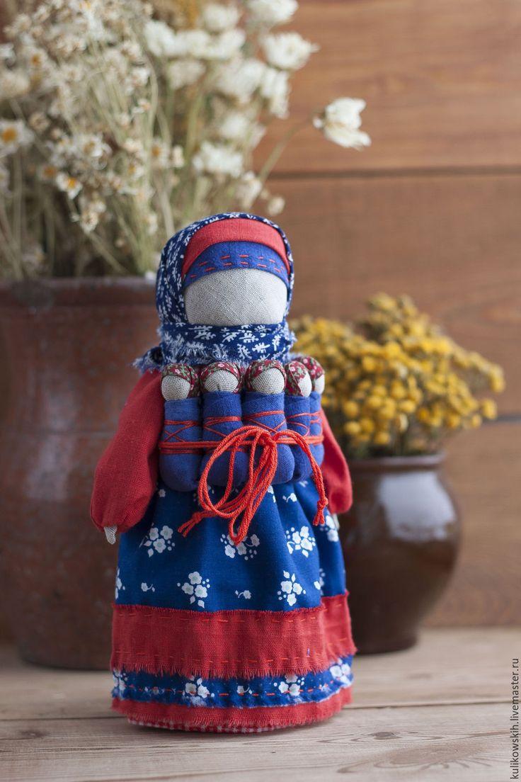 Купить Кукла народная Семья Нарядная - тёмно-синий, красный, народная кукла, народная традиция