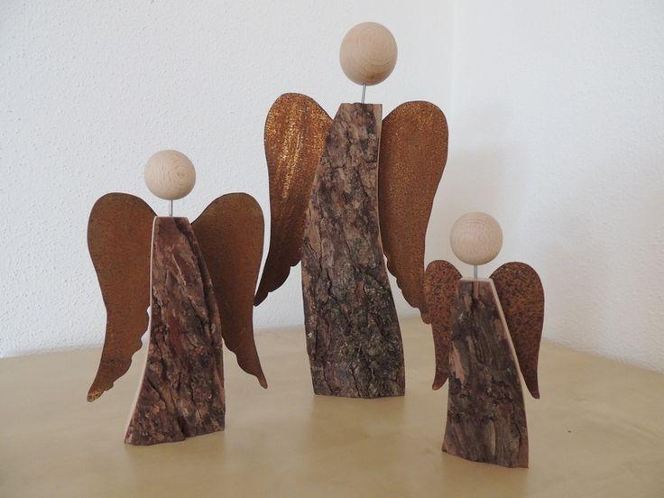 Rinden-Holzengel mit Rostflügel von holz-und-ich auf DaWanda.com