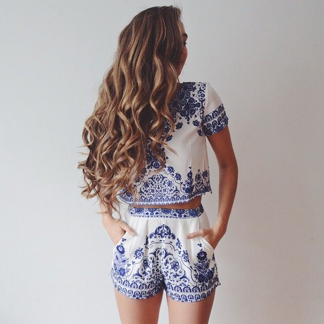 blue and white mozaic/ aztec design two piece from @iloveshowpo // use the code CATHBELLE for a 10% discount  #iloveshowpo
