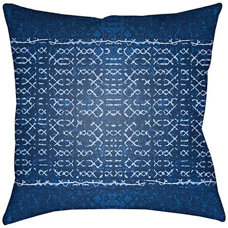 Perk up the patio with the rich blue hues featured on this transitional outdoor decorative pillow.