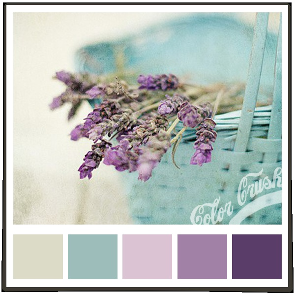 I want these colors in my kitchen. Soft purple walls, dreamy blue cabinets. Yummy!