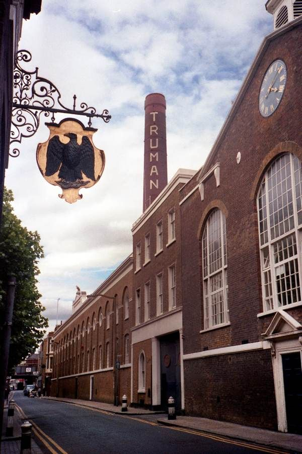 Contemporary pic of Truman Brewery Brick Lane London.The Black Eagle sign is that of the Brewery.