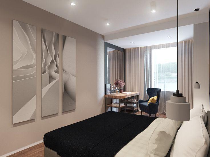 Трехкомнатная квартира для семьи. Гостевая спальня для молодой девушки. Спальня в современном стиле. Декорирование стен в спальне. Современная спальня. Bedroom. Contemporary.