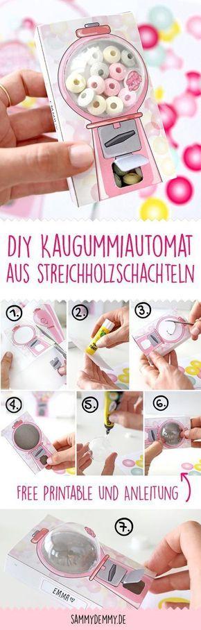 DIY für Kinder: Kaugummiautomat aus Streichholzschachteln, Basteln Streichholzschachtel, Geschenk Kindergeburtstag, Kindergeburtstag Basteln