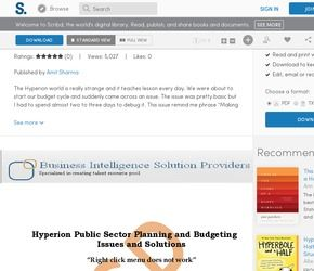 Hyperion Public Sector Planning and Budgeting Problem and Solutions
