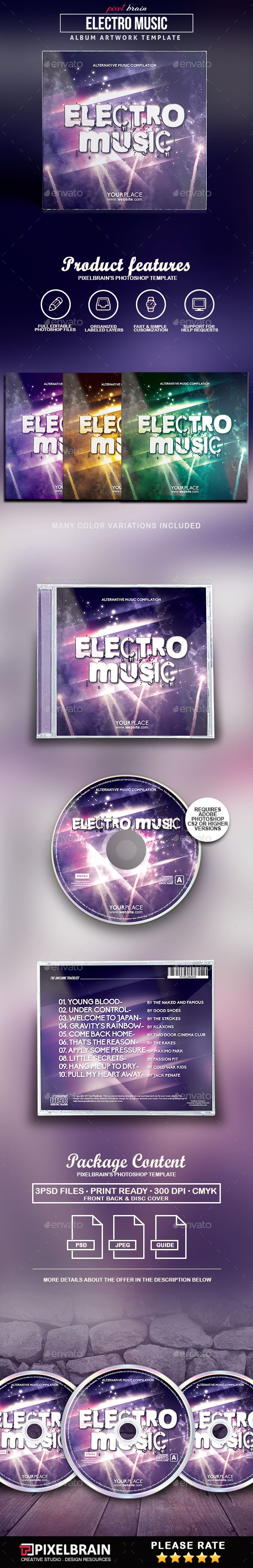 Electro Music CD #Cover Artwork - #CD & DVD #Artwork Print #Templates Download here: https://graphicriver.net/item/electro-music-cd-cover-artwork/19500390?ref=alena994