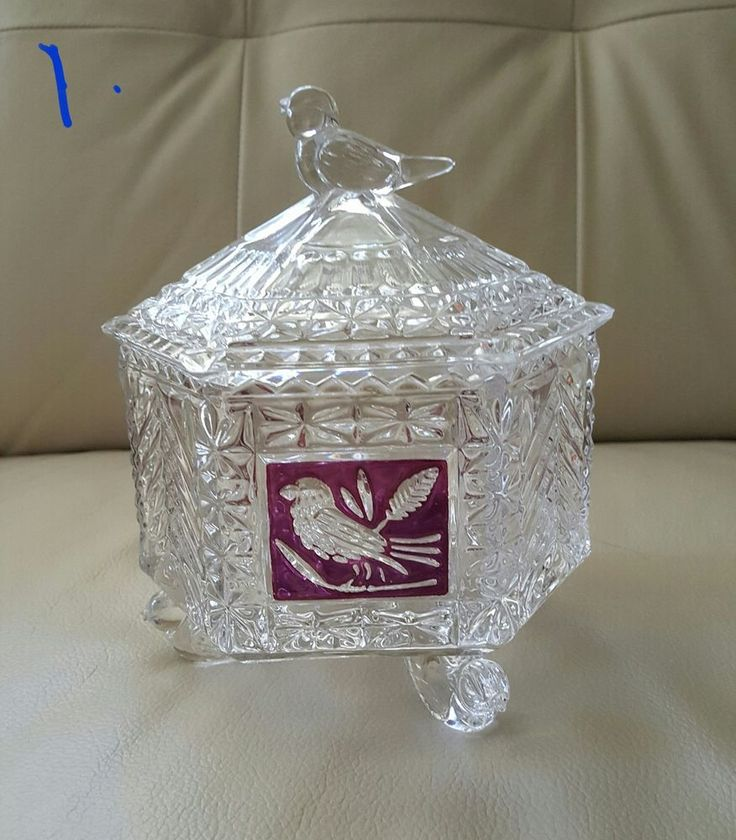 "Hofbauer Lead Crystal ""Red Bird"" Candy Dish"