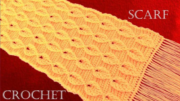 Como tejer a Crochet o Ganchillo bufanda chalina en punto de hojas en re...