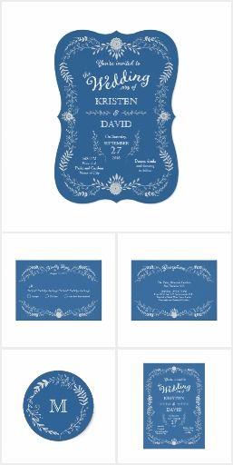 Elegant Blue & Silver Wreath Monochromatic Wedding