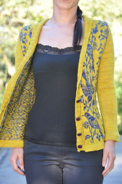 jettshin's breath-taking Nightingale cardigan was created from the Nightingale sock pattern's chart.