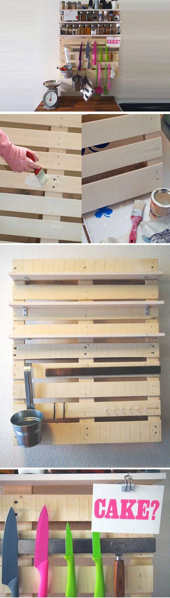 Pallet Shelf | Click Pick for 23 DIY Kitchen Organization Ideas | DIY Kitchen Storage Ideas for Small Kitchens