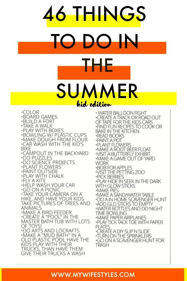46 things to do with kids during the summer. Fun summer activity ideas for kids. Need help figuring out what to do with your kids during summer break? Here is a list of outdoor and indoor activities to do during the summer with kids. A fun way to keep you