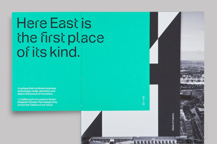 Logo, custom typeface and print with open stitch detail by dn&co. for commercial space Here East