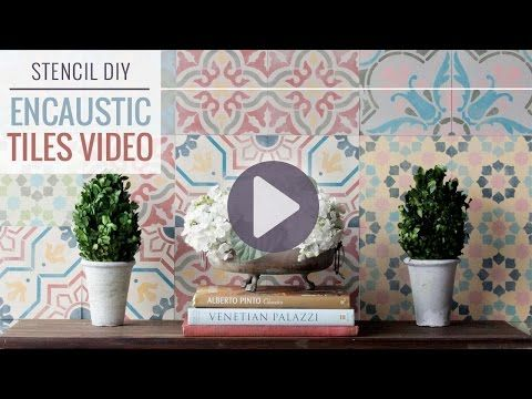 Wall Stencil Tutorial: Encaustic Cement Tile Wall Decor                           | Royal Design Studio Stencils