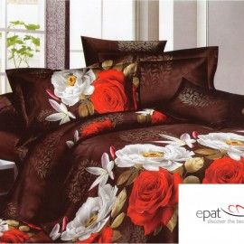 Lenjerie de pat cu trandafiri albi si rosii EL89TDAB03