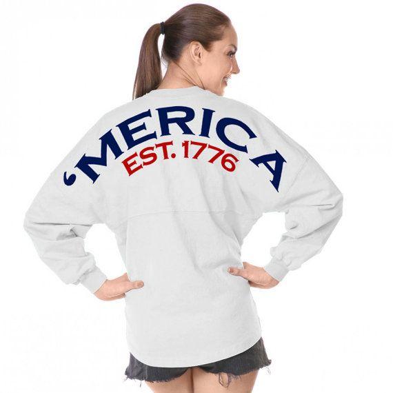 White Spirit Jersey 'Merica EST 1776 America Fourth Of July 4th Game Day Shirt on Etsy, $37.99
