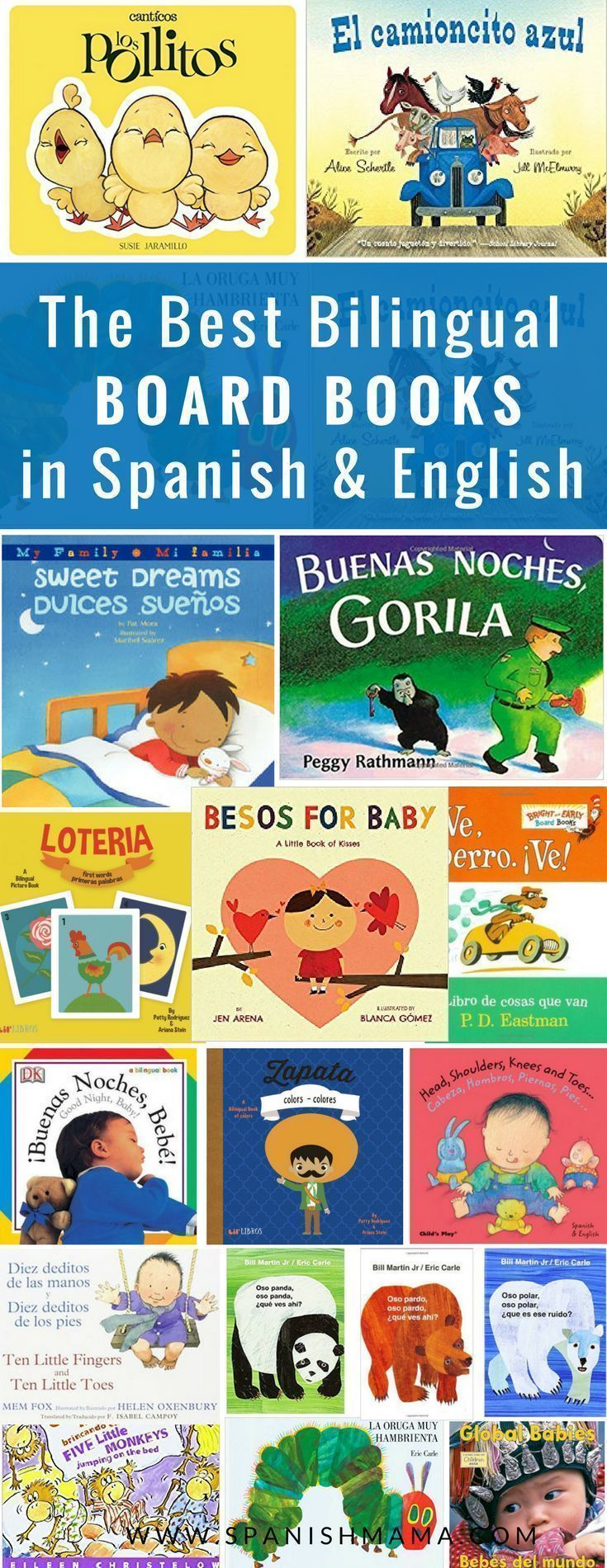 Spanish board books for babies and toddlers. Find the best bilingual books for little hands! #spanishfortoddlers