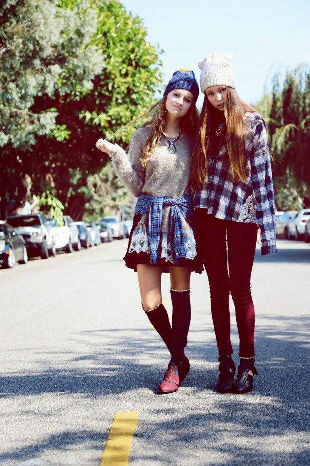 Grunge Girls. Skinny Jeans. Plaid. Skirt. Knee High Socks. Beanies. Sweater.