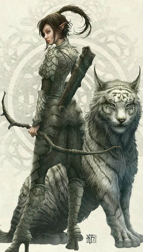 Warrior elf and combat companion… Fantasy art – …