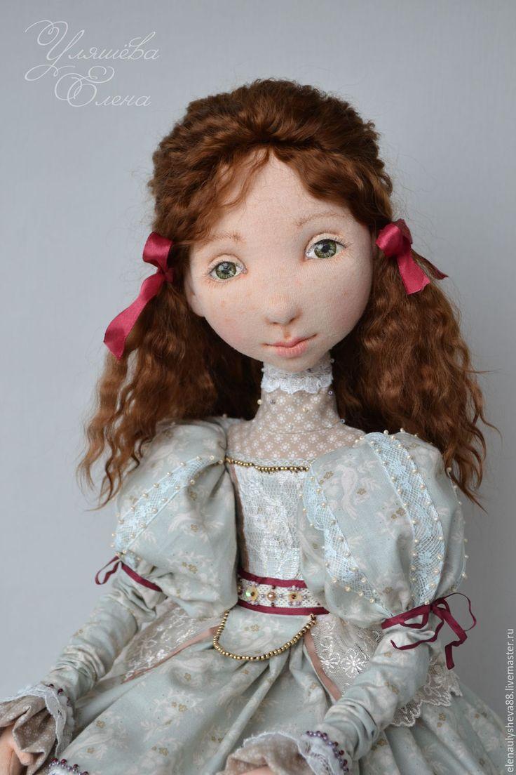 Купить Катрин - бордовый, нежно-зеленый, бежевый, авторская ручная работа, авторская кукла