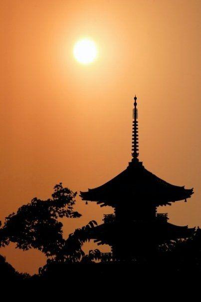 Sunset on Kiyoumizu Temple, Kyoto, Japan
