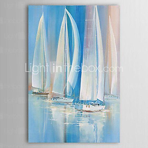 [XmasSale]pittura ad olio barca a vela paesaggio sull'arte mare con telaio allungato tela dipinti a mano | LightInTheBox