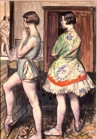 The Rehearsal, c.1938, Dame Laura Knight (1877 - 1970), watercolour and charcoal